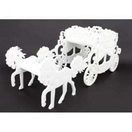 Ornament Din Plastic Trasura Perforata Alba